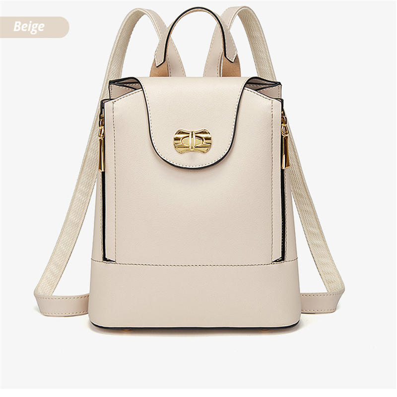 Women Backpack 2020 Fashion Daypack Solid Color PU Leather Bag Simple Style Casual Lady Bag All-match Female Bag