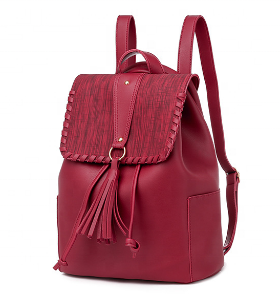 mochilas Fashion Drawstring Tassel Girls College School backpacks women daily fashion design casual PU leather backpack for ladies