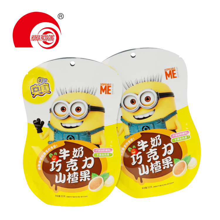 Customized Design Food Grade Special Shaped Candy Snack Plastic Packaging Bag with Hanging Hole
