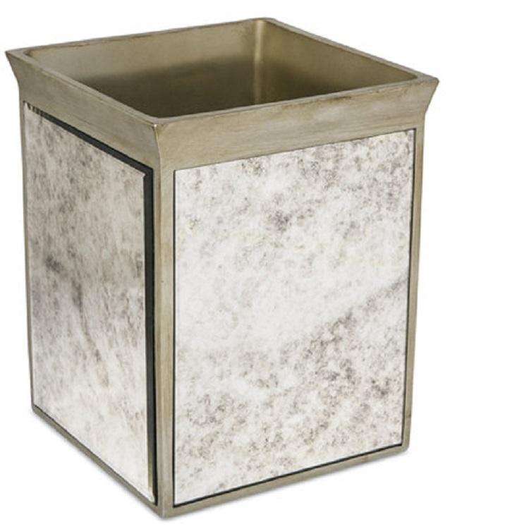 Home Decor Shinny Mirror Resin Bathroom Accessories Wastebasket Set of Waste bin