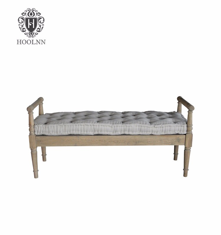 French Style Albert Oak Bench with Cushion HL100