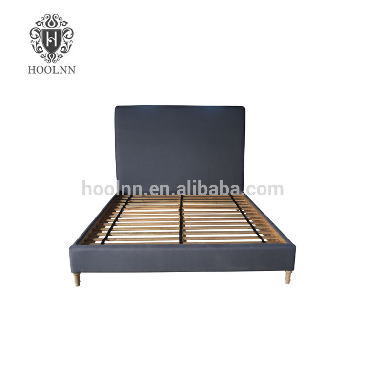 French style Antique Wooden Upholstered Fabric Bed HL117FB-153-F22
