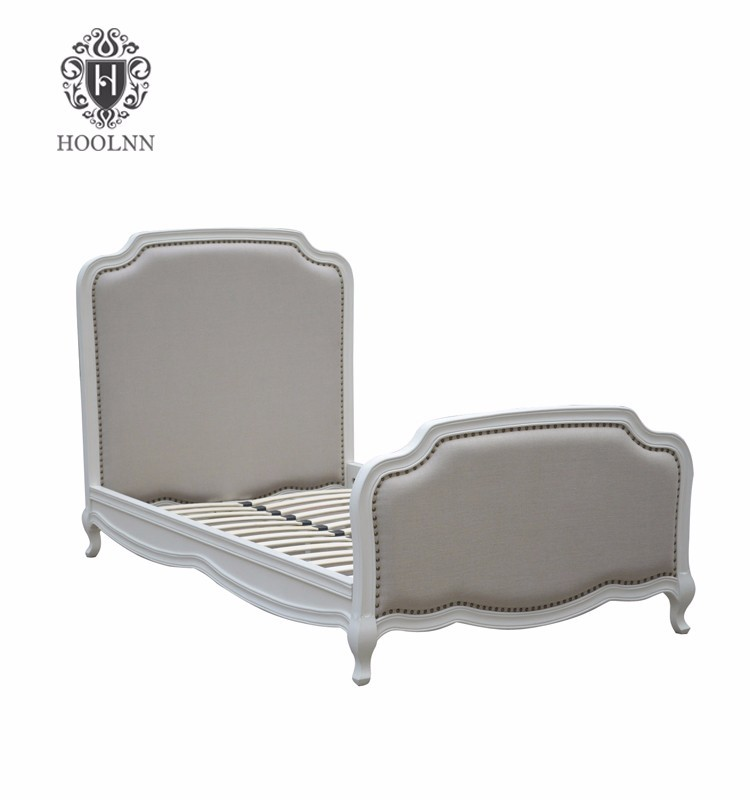HL159-106 French Style Antique Design High Headboard Wooden Upholstered Fabric Adult Single Bed