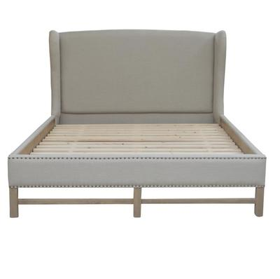 French style Antique Wooden Upholstered Fabric Bed HL092K