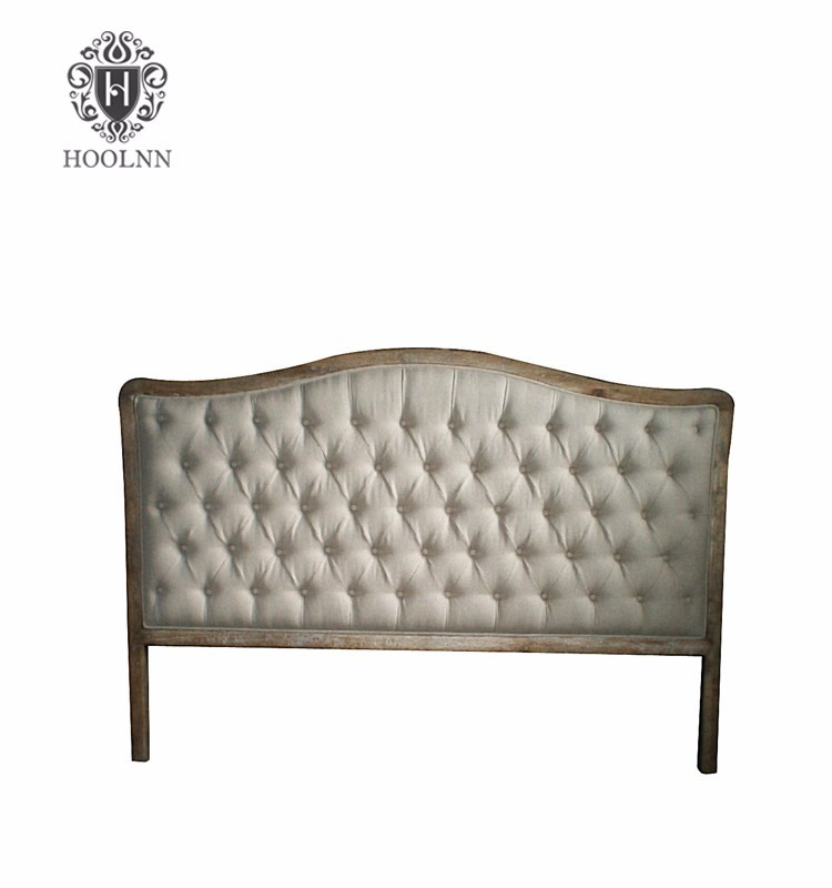 French-style Antique Wooden Upholstered Luxurious King Size Fabric Headboard HL004K-F05