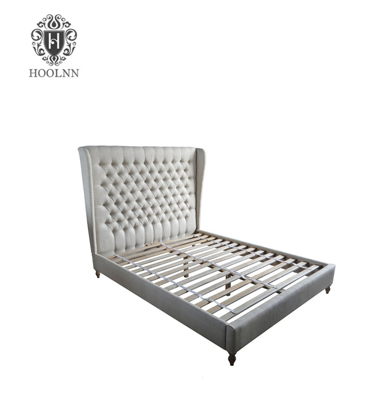 French Style Antique Funiture Upholstered Wooden Bed HL006K