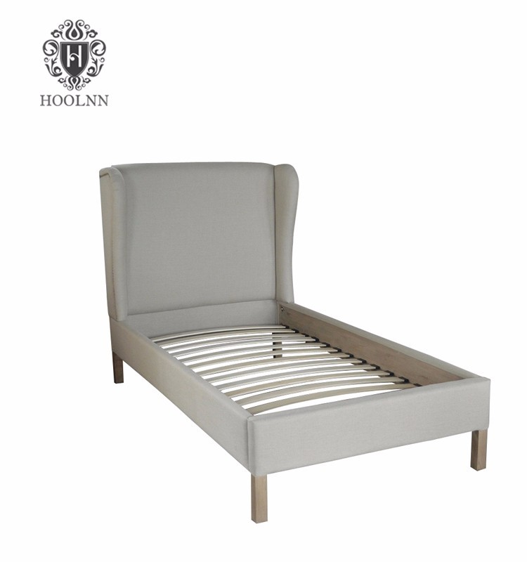 French style Antique Platform Wooden Upholstered Fabric Toddler Sleeping Wall Bed Frame HL014S