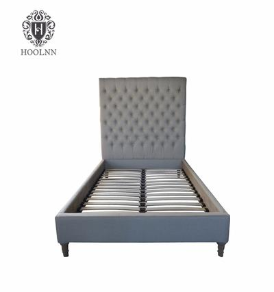French-style Antique Wooden Upholstered Fabric Bed HL007FB-106