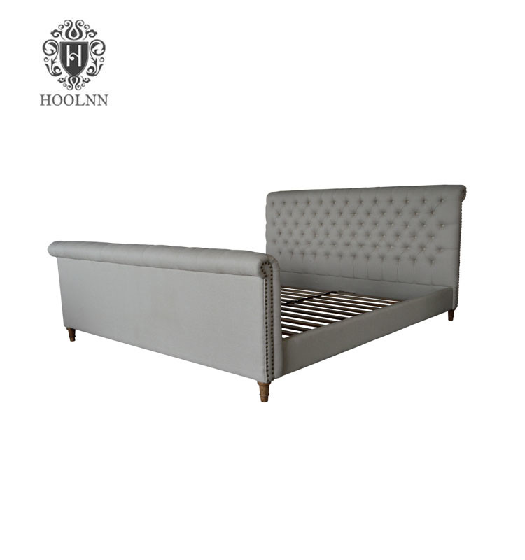 HL026K Latest Stylish French style Antique Designs Furniture Wooden Upholstered Wood Kids Double Fabric Bed