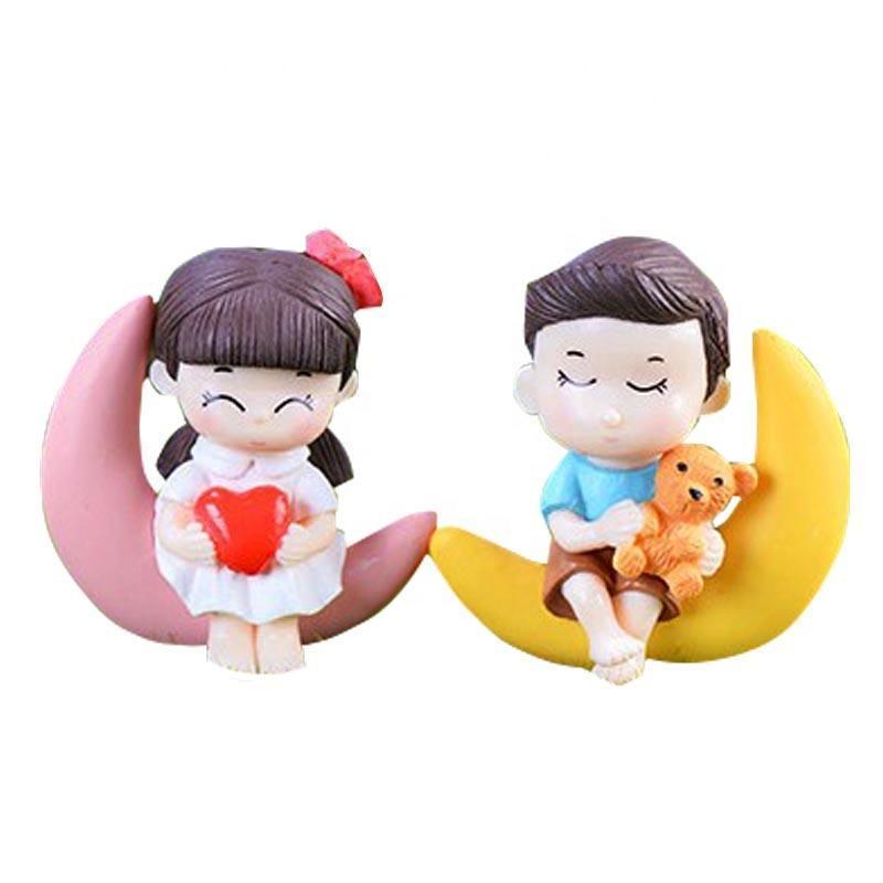 Dreamful Childhood Mini Boy and Girl Sitting on Moon Sweet Kids Couple Figurine