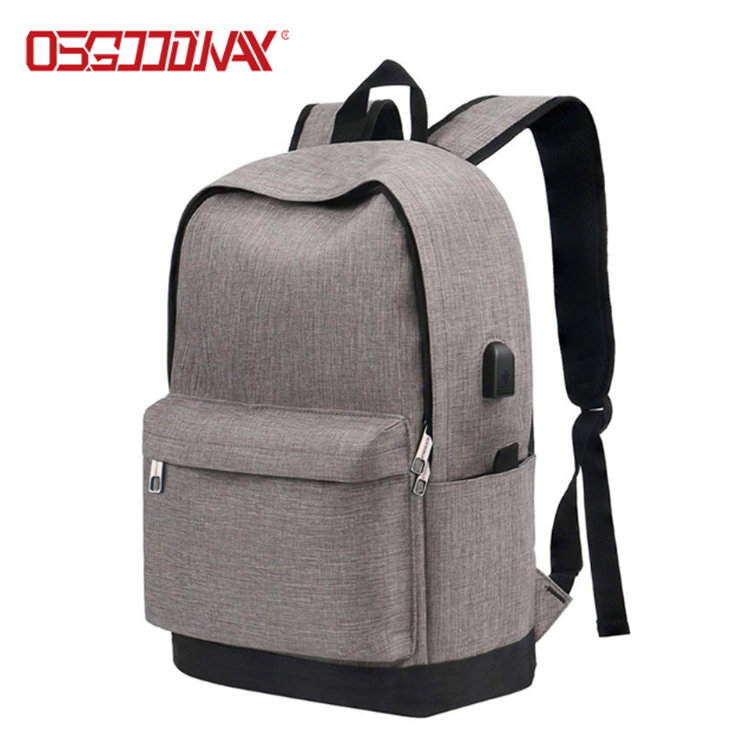 Osgoodway Water Resistant Canvas Vintage Casual Student Laptop Bag Backpack Men with USB Charging Port