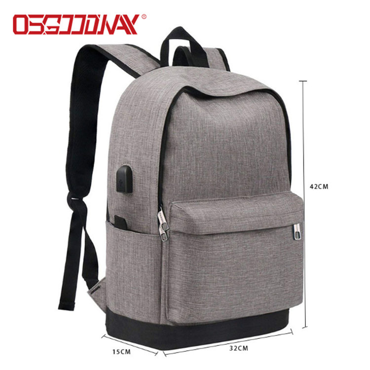 product-Osgoodway Water Resistant Canvas Vintage Casual Student Laptop Bag Backpack Men with USB Cha-1