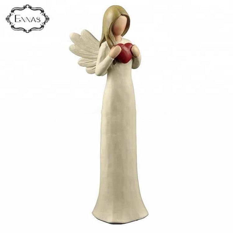 Resin Heart Mother Fairy Angel Figurine Resin Heart Fairy Angel