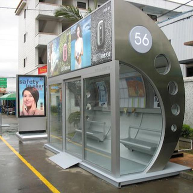 Manufacturer Street Aluminum Bus Station Shelter with advertising led lightbox for Middle East city furniture