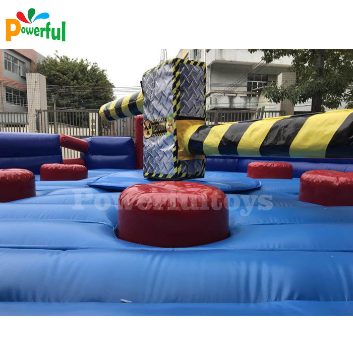 China manufacturer meltdown wipeout eliminator games 4 people inflatable wipeout