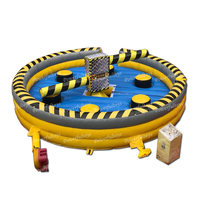 Factory price inflatablewipe out meltdown game with mechanical for sale