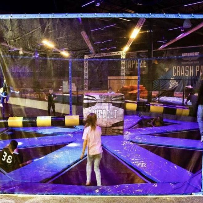 Bounce Indoor Trampoline Type 8m Sweep Game Wipe Out at trampoline park