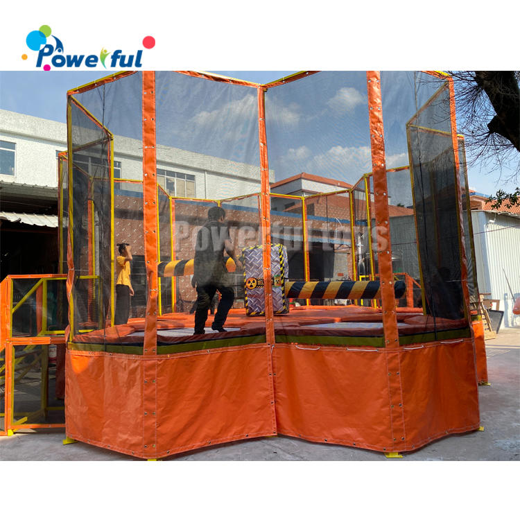 Team building inflatable sweeper game, inflatable meltdown game, inflatable wipeout eliminator for trampoline park