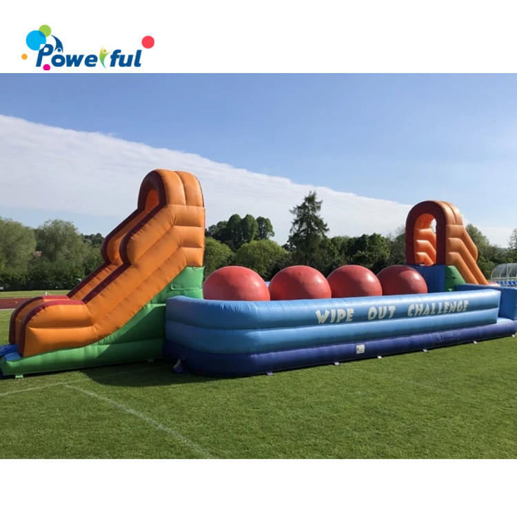 Toxic wipeout big red balls inflatable wipeout challenge for adult