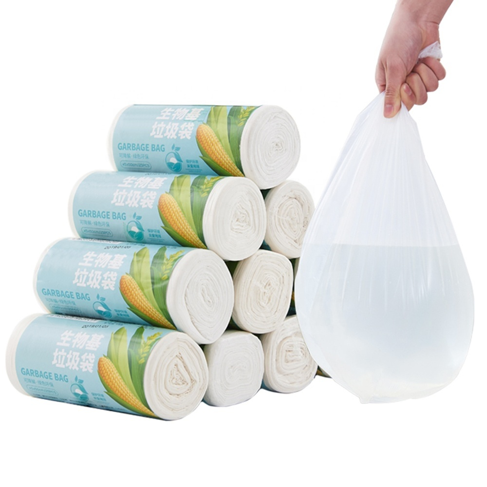 corn starch made biodegradable plastic garbage bag custom printed