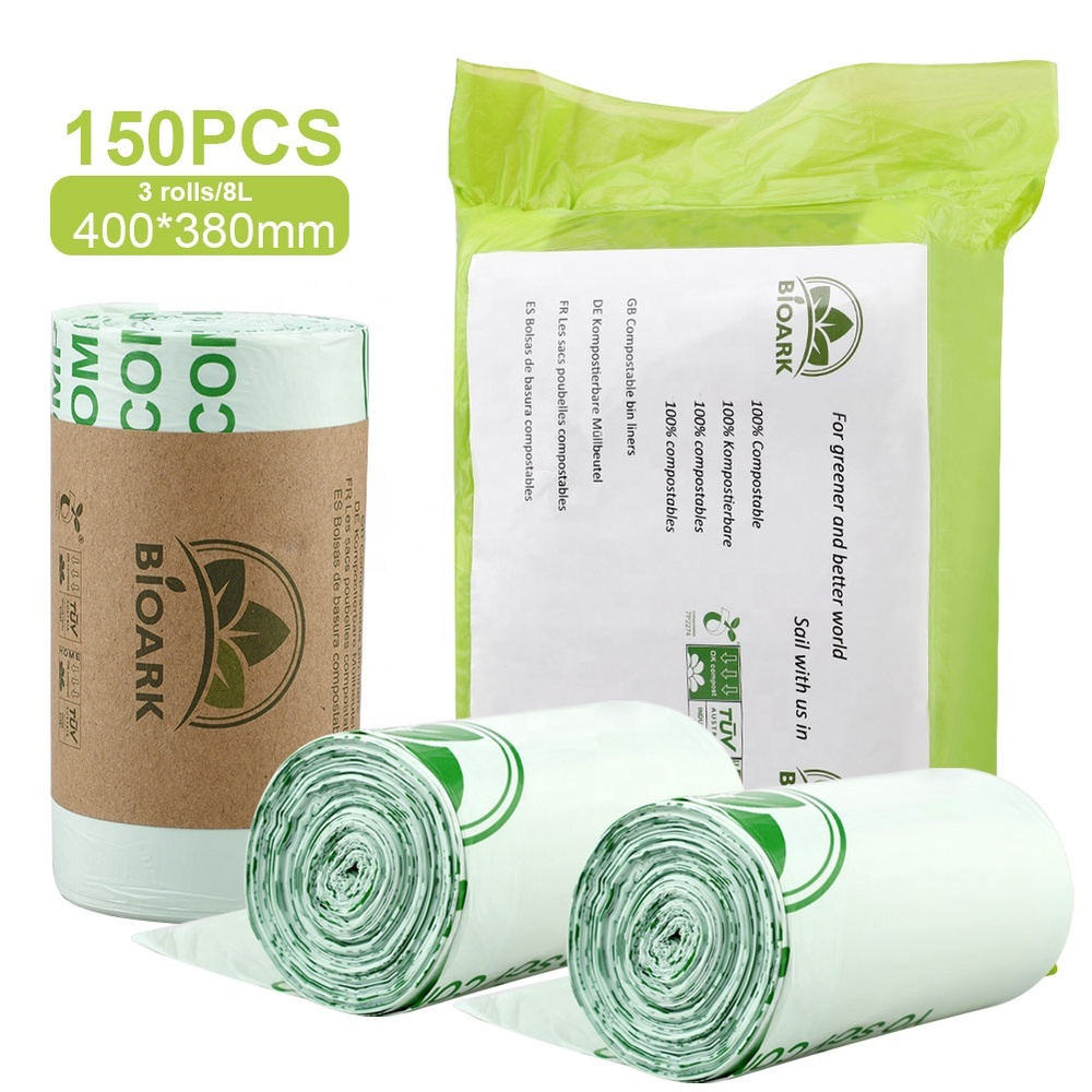 Eco-friendly 100% biodegradable trash bags customized compostable garbage bags plant based garbage bags biodegradable