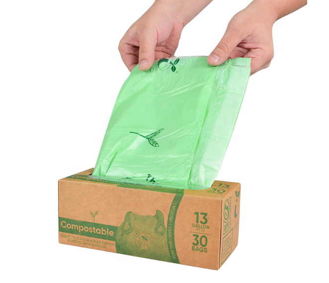 Eco-friendly 100% biodegradable Drawstring Trash Bags Compostable Trash Can Liners