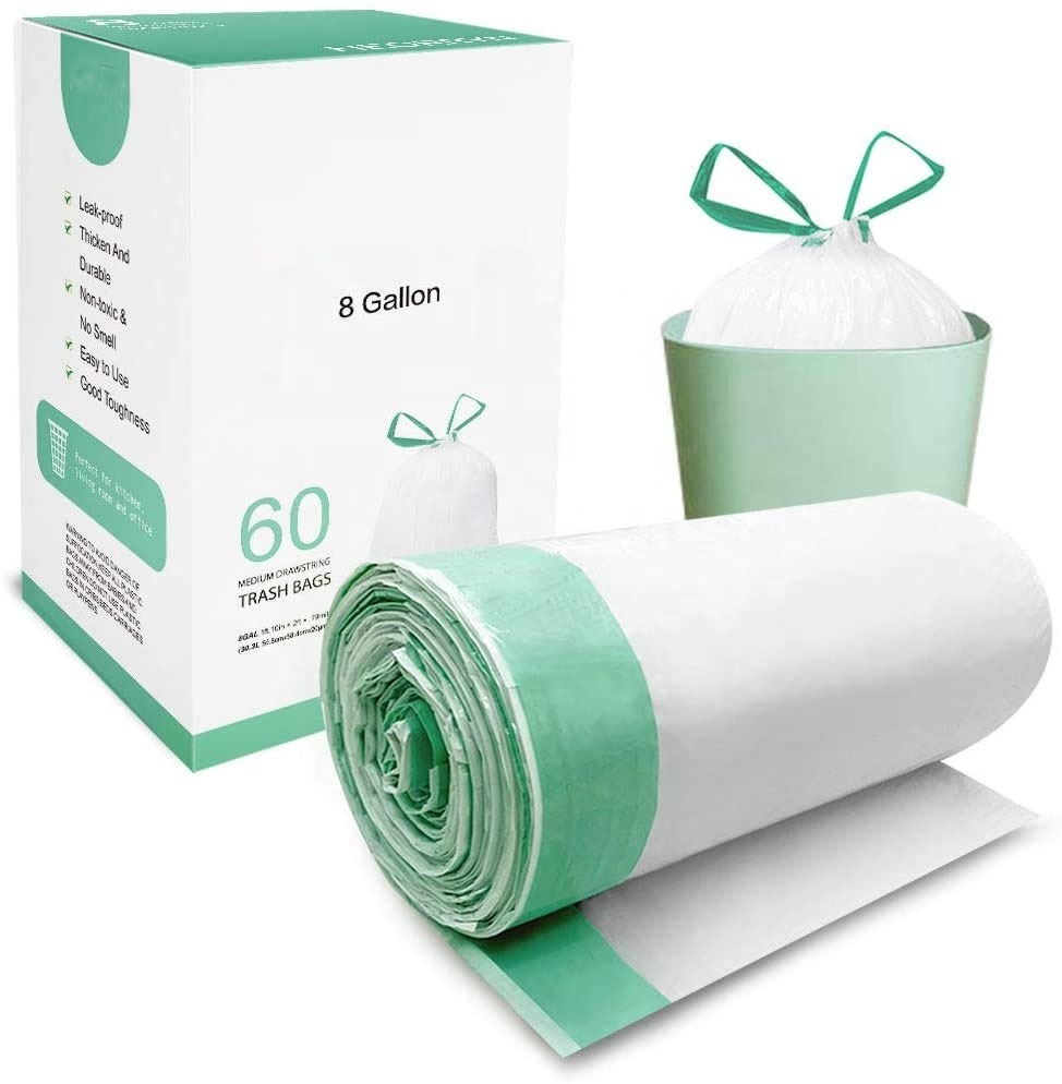 100% biodegradable and compostable 8 Gallon Trash Can Liners Drawstring Garbage Bags