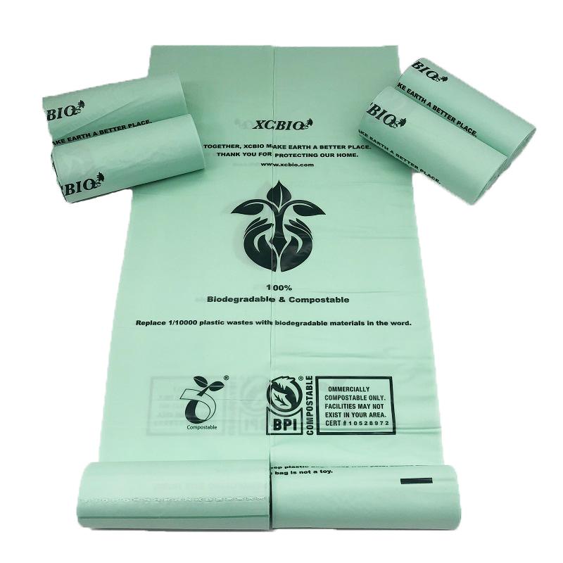 Eco friendly Custom logo colored compostable bin bags plastic trash bag