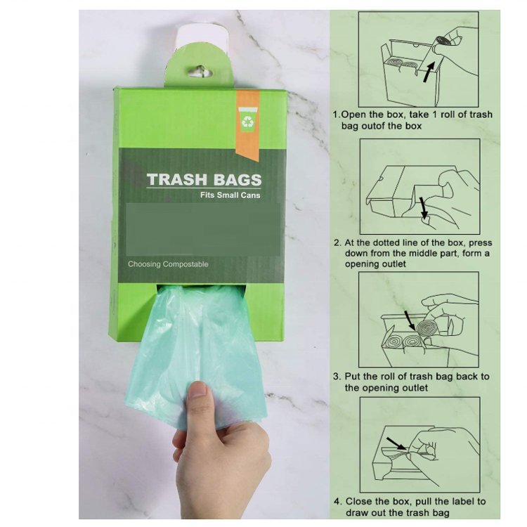 Compostable Plastic Tall Kitchen Garbage Bags13 GallonBiodegradable PLA Trash bags