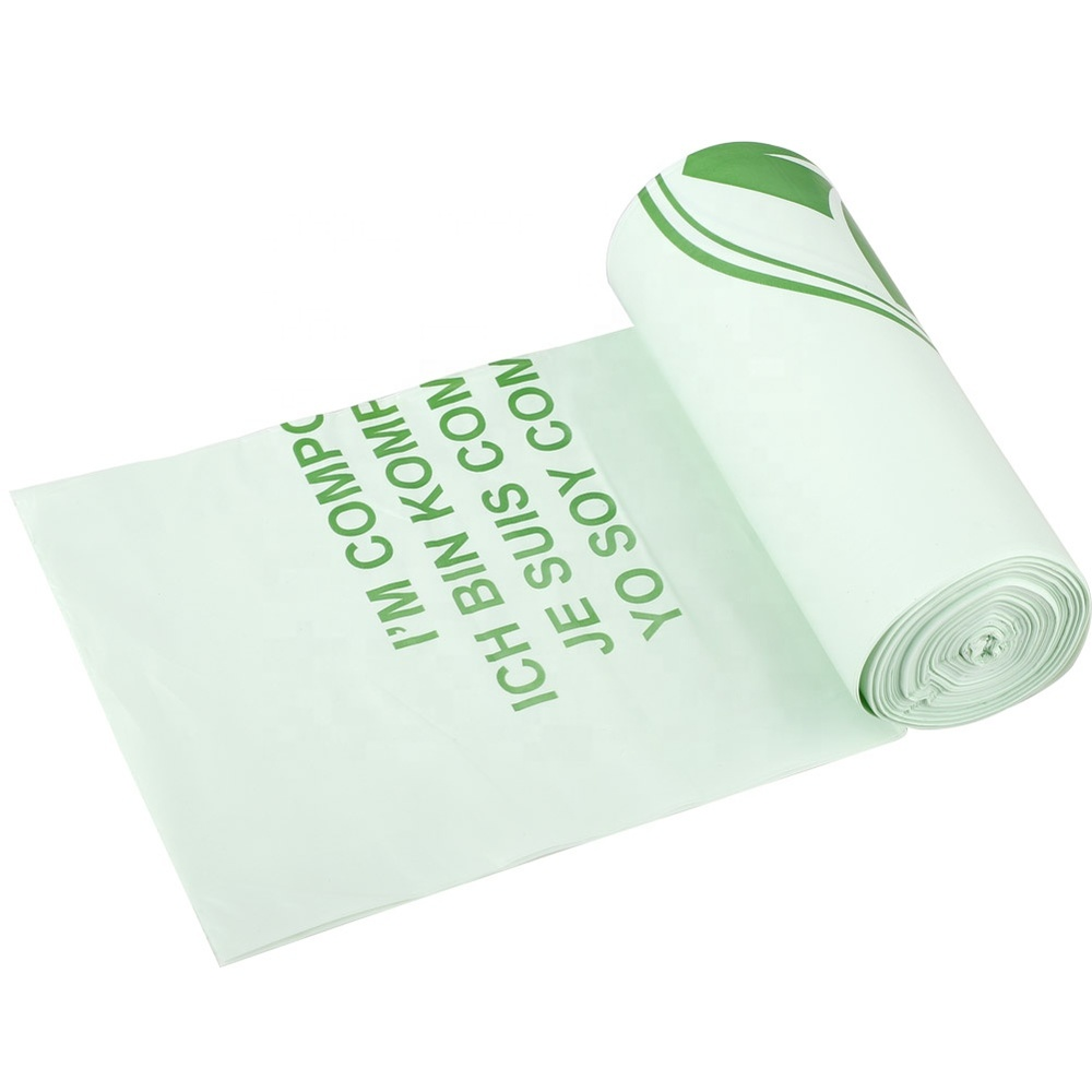 Full Biodegradable compostable cornstarch plastic roll Bags for trash and garbage