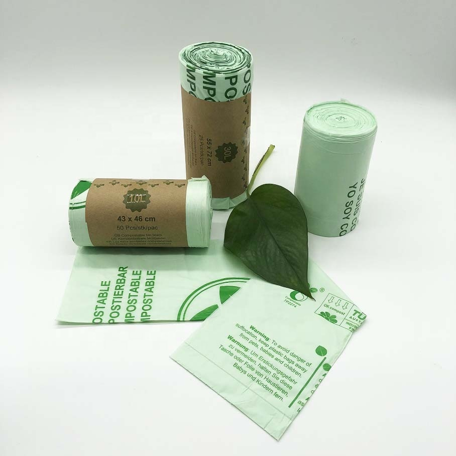 Custom 100% Biodegradable and compostable Environment-Friendly Plastic Garbage Bags