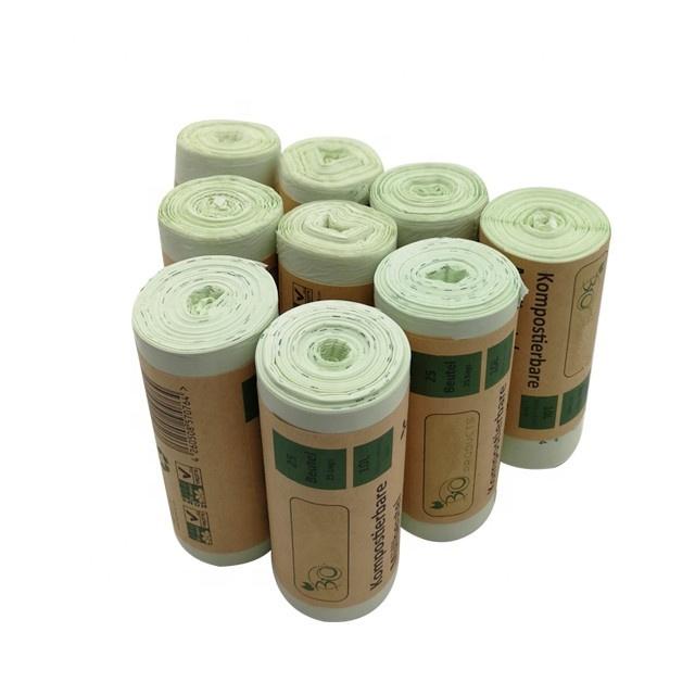 Compostable 100% Biodegradable cornstarch garbage bag EN13432 certified trash bin liner
