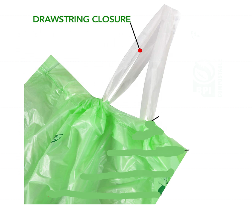 Plant based 100% biodegradable and compostable 13 Gallon Kitchen drawstring trash bags, Heavy Duty Garbage Bag