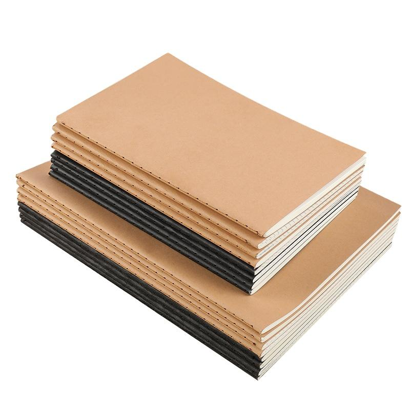 A5 Paper Note Recycle Kraft Sew Binding Dotted Grid Notebook Writing For Kids