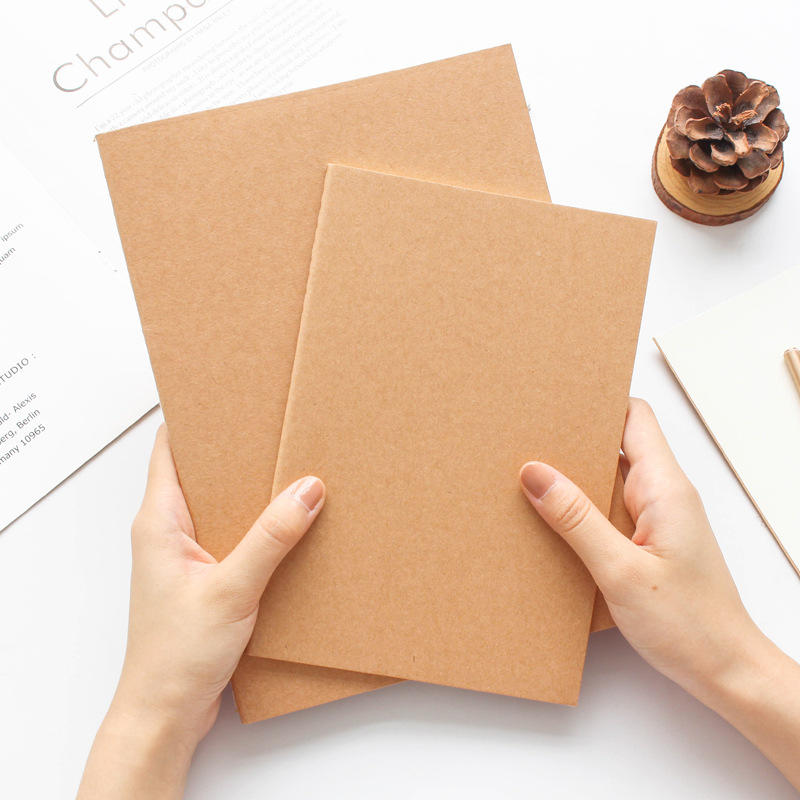 product-Good Quality Portable Painting Book Notebook Writing Training For Kid Brown Kraft Notebook C-1