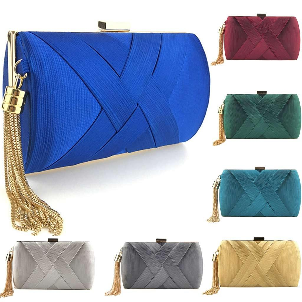 New Arrival Silk Satin Metal Tassel Lady luxury evening clutch bags chain wedding party money purses and handbags for women