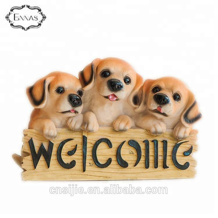 Lovely welcome dog statue resin garden decoration home dog figures