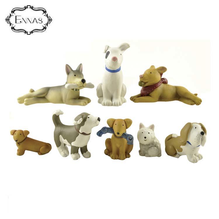 8 Pieces / Set of Playful Puppies Figurines Set Birthday Gift Animal Mini Crafts