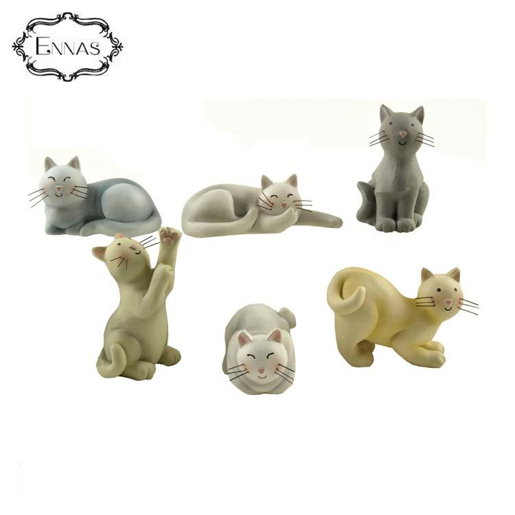 Fashion creative craft cute animal toy 6 pieces / set of playful cat figurines suit