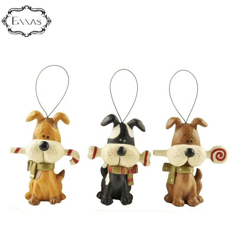Dogs with candy canes Personalized resin dog Christmas ornaments crafts