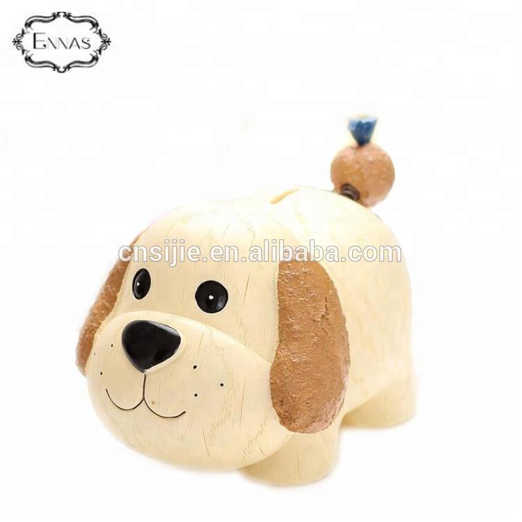 OEM Resin Animal Shape Custom Kid Money Saving Box Dog Piggy Coin Bank
