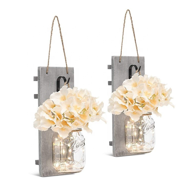 Amazon hot selling mason jars with LED lights rustic wall shelves for home decoration