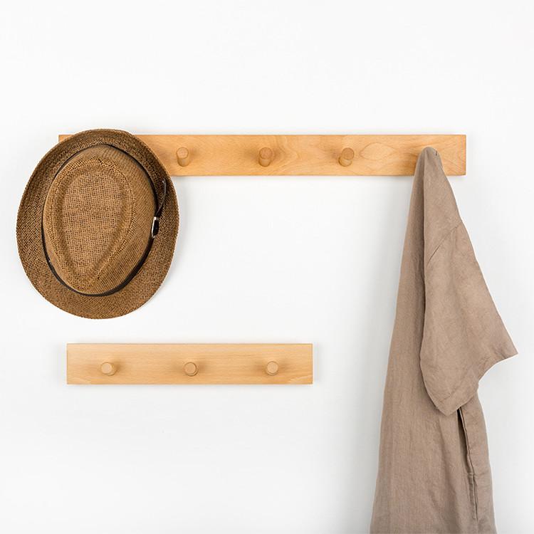 modern wall mounted beech walnut wooden entryway coat rack clothes hook hat rack
