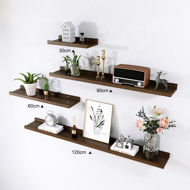 set of 4 rustic wooden shelves home decoration beech wood wall mounted storage floating shelf