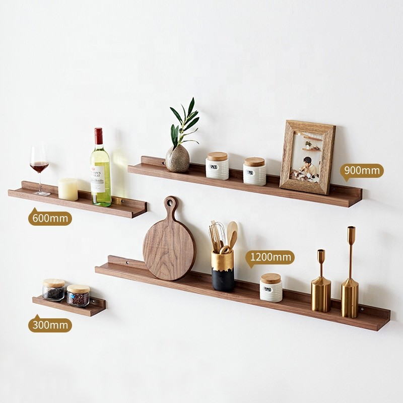 concise nordic style eco-friendly walnut beech wooden wall mounted shelves home decor floating shelf