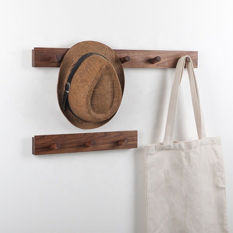 100% handmade eco-friendly walnut beech solid wood shelf hook clothes rack
