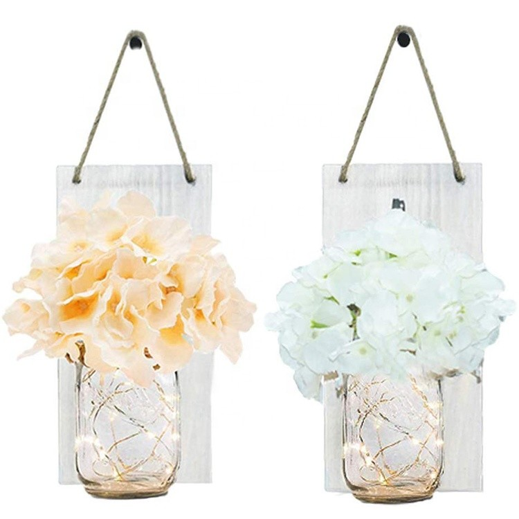 Hot Sale Set of 2 Mason Jar Wall Decor Rustic Wall Sconces with Fairy Light String