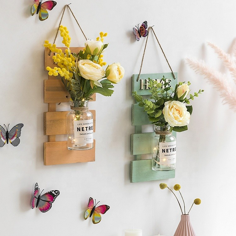 rustic style home decoration wooden wall shelf with mason jar and flower