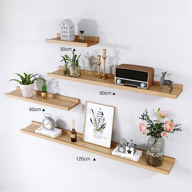 nordic style beech wall mountrd floating wooden shelves storage display book shelf