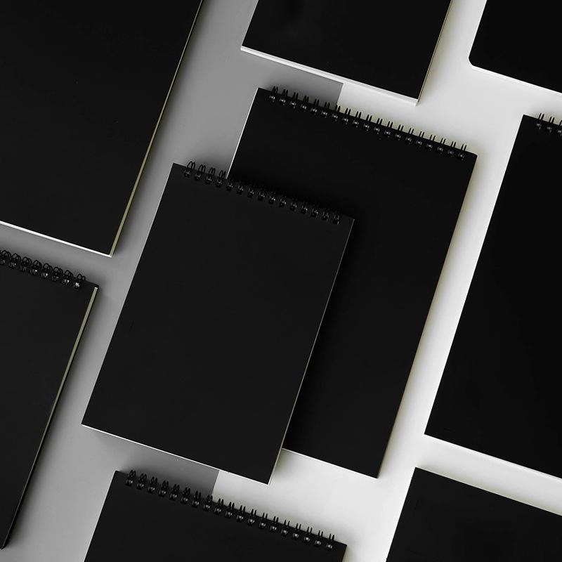 Custom logo black kraft cover spiral notebook mini size notepad note book